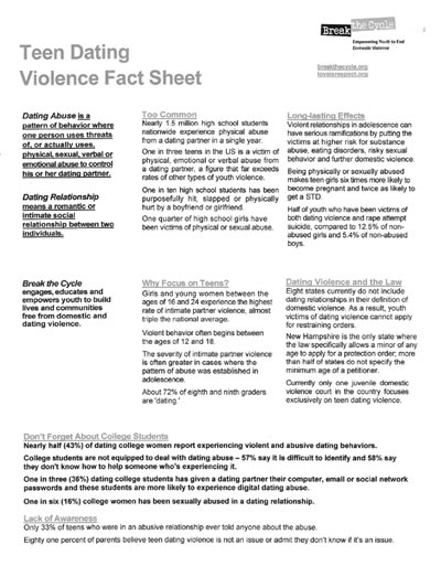 Dating Violence Fact Sheet